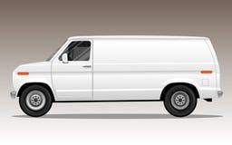 Vit skåpbil med tomt utrymme för text eller logo Royaltyfria Bilder