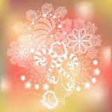 Vit skissar Art Object på färgrik bakgrund stock illustrationer