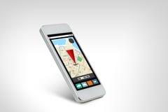 Vit smarthphone med gps-navigatöröversikten på skärmen Arkivbild