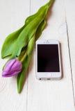 Vit smartphone med den lila tulpan på en ljus träbakgrund Royaltyfri Foto