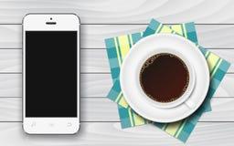 Vit smartphone med den svarta tomma skärmen och koppen kaffe med rutiga servetter på den vita trätabellvektorillustrationen Royaltyfri Illustrationer