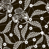 Vit snör åt den blom- sömlösa modellen på svart Royaltyfria Bilder