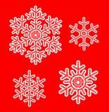 Vit snör åt snöflingor royaltyfri illustrationer