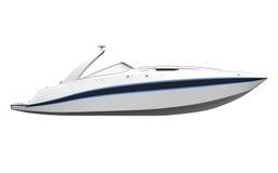 Vit snabb motorbåt som isoleras på vit bakgrund stock illustrationer