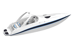 Vit snabb motorbåt som isoleras på vit bakgrund royaltyfri illustrationer