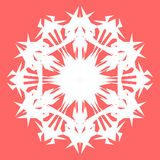 Vit Snowflake Snöflinga för affischer, kort, inbjudandesign Royaltyfria Bilder