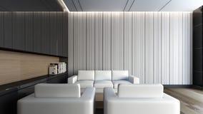 Vit soffa i tolkningen vardagsrum/3D Arkivbilder