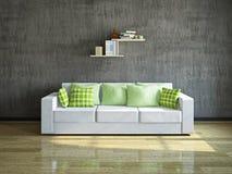 Vit soffa nära väggen Arkivbild