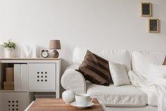 Vit soffa och byrå arkivbild
