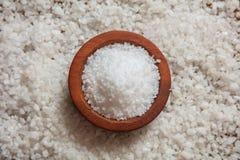 Vit som är salt i en träbunke Fotografering för Bildbyråer