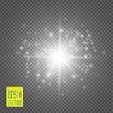 Vit som blänker partiklar för slinga för stjärnadamm mousserande på genomskinlig bakgrund Utrymmekometsvans Arkivfoton