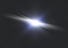 Vit som glöder ljus, exploderar på en genomskinlig bakgrund Vektorillustration av ljus garneringeffekt med strålen ljus stjärna royaltyfri illustrationer