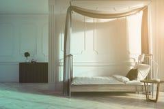 Vit sovruminre, enkel säng som tonas vektor illustrationer