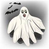 Vit spöke med svartslagträn för allhelgonaafton Arkivbild