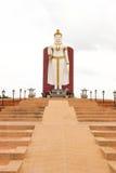 Vit ställningsbuddha bild Thailand Arkivfoto