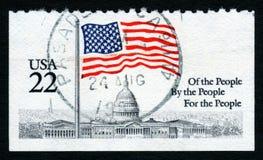 vit stämpel USA för hus 22c Arkivbild