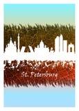 Vit St Petersburg horisont som är blå och royaltyfri illustrationer