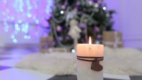 Vit stearinljus på bakgrund av julgranen