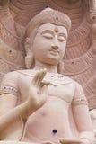 Vit sten som snider buddha med naga 02 Royaltyfri Bild