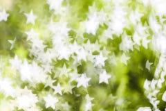 Vit stjärnabokeh på grön bakgrund Royaltyfri Fotografi