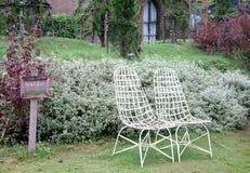Vit stol i en trädgård Royaltyfria Bilder