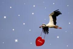 Vit stork med röd hjärta Royaltyfria Foton