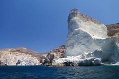 Vit strand. Akrotiri. Santorini Royaltyfria Foton
