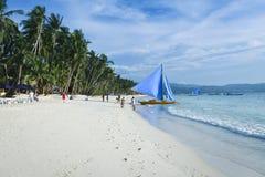 Vit strand philippines för Boracay ö arkivfoton