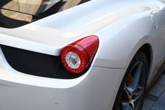 Vit supercarFerrari 458 spindel Royaltyfria Bilder