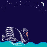 Vit svan som svävar på vågorna Stock Illustrationer