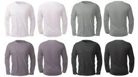 Vit svart Gray Long Sleeved Shirt Design mall royaltyfria foton