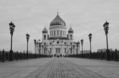 Vit svartvit stenkyrka Royaltyfri Bild