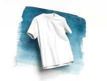 Vit T-tröja på ljus bakgrund, tolkning 3d Royaltyfria Bilder