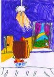 Vit tabell, äpplen och sikt från fönstret, childsteckning royaltyfri illustrationer