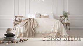 Vit tabellhylla med kiselstenjämvikt och bokstäver som 3d gör ordfengshuien över klassiskt sovrum för evintage med mjuk säng full fotografering för bildbyråer