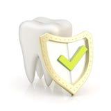 Vit tand som täckas med skölden Arkivbild