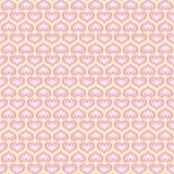 Vit tapet med rosa hjärtor Mönstra för valentindaghälsning Förtjust vektormodell Arkivfoto