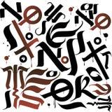Vit tapet med svart och röd kalligrafi Arkivbild