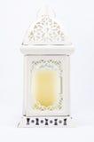 Vit tappningstearinljuslampa på vit bakgrund Royaltyfri Fotografi