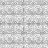 Vit techbakgrund med den baserade oktogon formar (sömlöst) Arkivbild