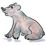 Vit tecknad filmteckning för vattenfärg av en björn stock illustrationer