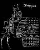 Vit tecknad filmvektorillustration av i stadens centrum Prague i krita på svart med text Royaltyfria Foton