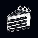 Vit teckning för kritakakastycke på svart tavla Söt illustration för pajstyckklotter royaltyfri illustrationer