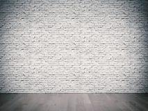 Vit tegelstenvägg Arkivbilder
