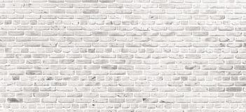 Vit tegelstenvägg Enkel grungy vit tegelstenvägg med ljust - grå bakgrund för textur för skuggamodellyttersida i brett panoramafo royaltyfri fotografi
