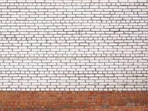 Vit tegelstenvägg för Grunge, stenyttersida som en bakgrund Royaltyfri Fotografi