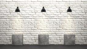 Vit tegelstenvägg med tolkningen för ljuskronor 3D royaltyfria foton