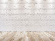Vit tegelstenvägg och trägolv Arkivfoto