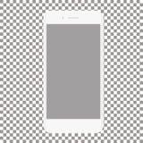 Vit telefon med den tomma skärmen på en genomskinlig bakgrund Arkivbilder