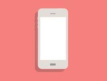 Vit telefon på rosa bakgrund Royaltyfri Bild